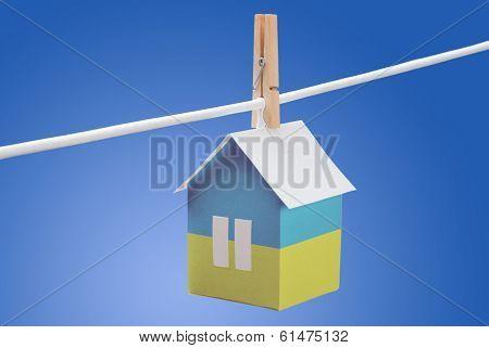 ________________ flag on paper house