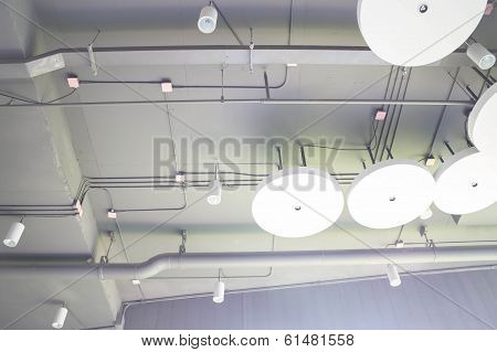 A Group Of Lamp Hang On Ceiling