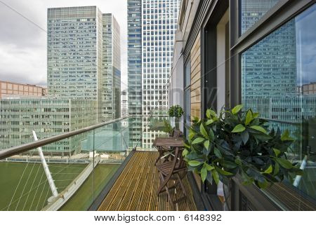 Balcony Overlooking Canary Wharf And Docks
