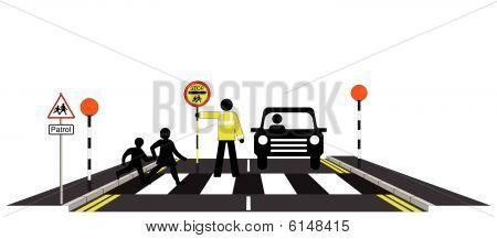 Zebra crossing school patrol