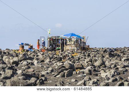 People At A Fishermans Hut In Timanfaya, Lanzarote