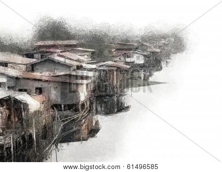 Painting of a canal side slum community in Bangkok