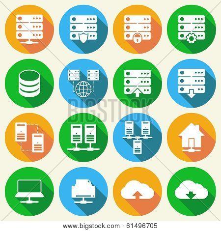 Hosting Technology Icons Set