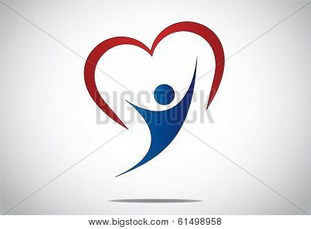 happy young person jumping with joy & happiness with red heart. youthful girl or woman dancing with both hands up with red colorful heart shaped symbol behind - concept design illustration art poster