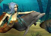 3D digital render of a cute mermaid and dolphin on blue fantasy ocean background poster
