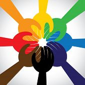 group of hands taking pledge promise or vow - concept vector icon. This graphic in circle also represents unity solidarity teamwork commitment people friendship poster