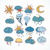 Doodle weather forecast color decorative design elements collection isolated vector illustration poster
