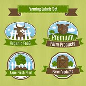 Farming harvesting and agriculture badges or labels set vector illustration poster