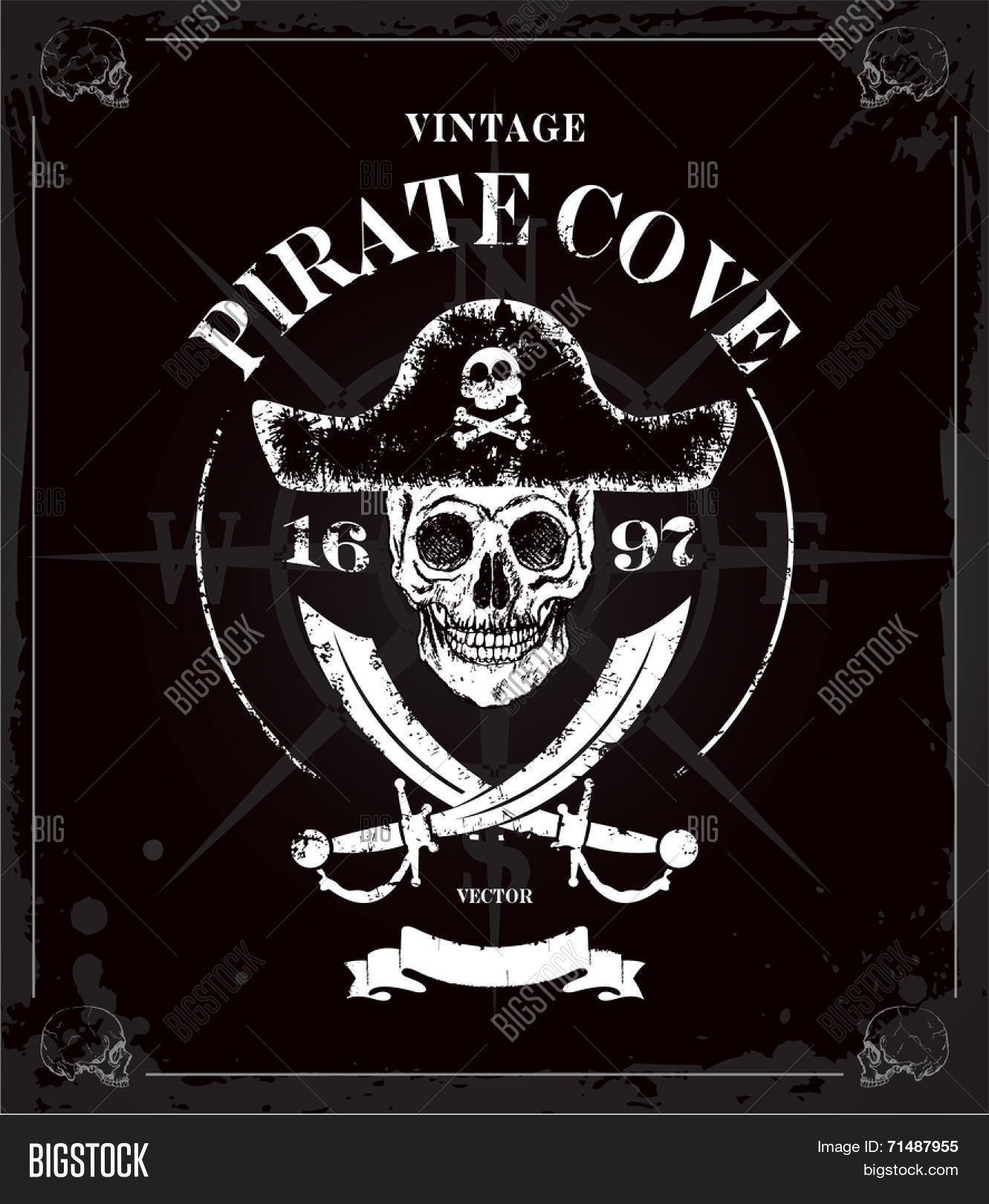 Vintage Vector Pirates Skull Frame Vector & Photo | Bigstock
