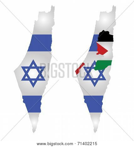 Flag of Israel overlaid on map with second map showing the disputed Palestinian territories of the West Bank and the Gaza Strip with the Palestinian flag isolated on white background poster