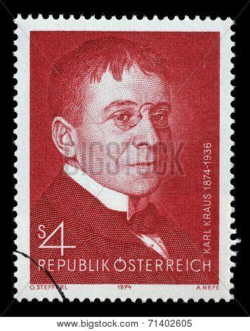 AUSTRIA - CIRCA 1974: a stamp printed in the Austria shows Karl Kraus, Poet and Satirist, circa 1974