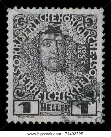 AUSTRIA - CIRCA 1904: stamp printed by Austria, shows Karl VI, circa 1904