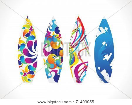 abstract multiple colorful surf board vector illustration poster