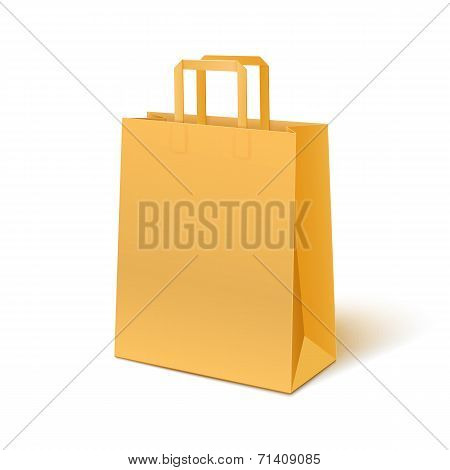 Blank paper bag isolated on white background