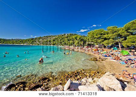 Crystal Clear Turquoise Beach In Croatia