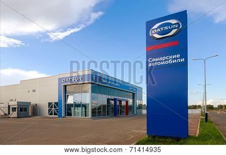 Samara, Russia - August 30, 2014: Office Of Official Dealer Datsun. Datsun Is An Automobile Brand Ow