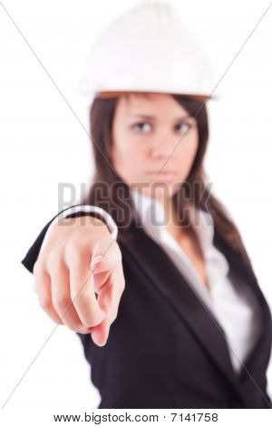 Business Woman, Pointing Forward