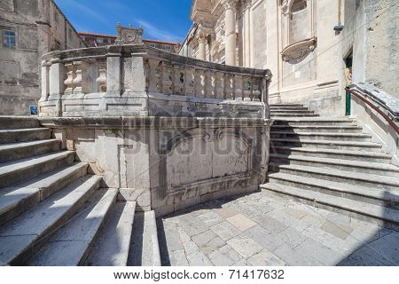 Jesuits staircase, the grand staircase that leads from Gundulic Square to the square in front of Collegium Ragusinum and St. Ignatius Church in Dubrovnik, Croatia.