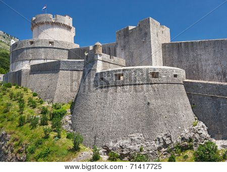 Minceta tower on old walls of Dubrovnik, Croatia. Tower is highest point of the wall and a symbol of unconquerable city of Dubrovnik