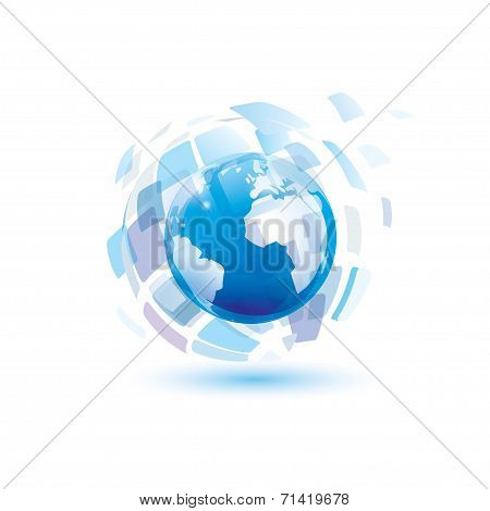 Digital World, Abstract Vector Symbol, Technology Concept