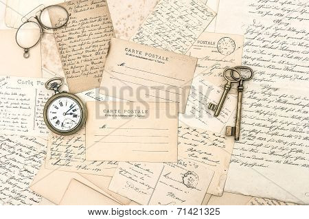 Old Letters And Postcards, Antique Accessories. Ephemera