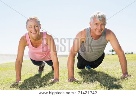 Fit mature couple warming up on the grass on a sunny day
