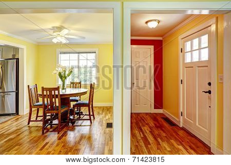 House Interior. Entrance Hallway And Dining Room
