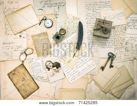 Old Love Letters, Postcards, Antique Accessories And Photo