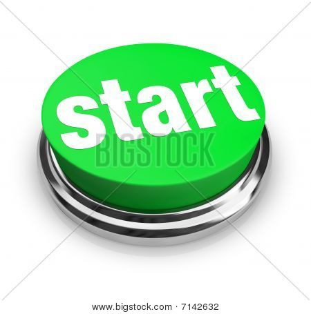 A green button with the word Start on it poster