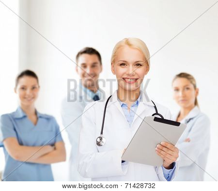 healthcare, technology and medicine concept - smiling female doctor with stethoscope and tablet pc computer poster