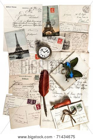 old letters accessories and postcards. sentimental vintage travel background with antique clock feather pen and butterfly poster