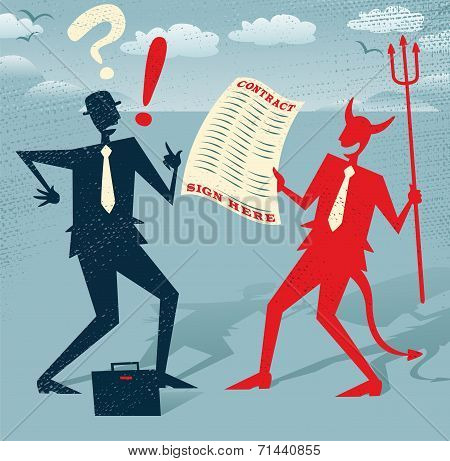 Abstract Businessman Signs A Deal With The Devil.