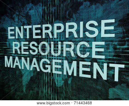 Enterprise Resource Management text concept on green digital world map background poster