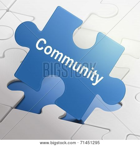Community Word On Blue Puzzle Pieces