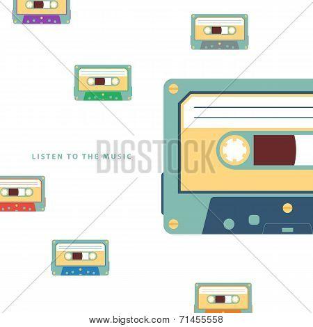 Audio cassette flat vector illustration on white background. poster