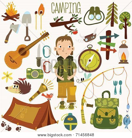 Bright Camping Equipment Icon Set In Vector With Camping Boy Character And Animals
