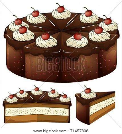 Illustration of a mouthwatering chocolate cake on a white background