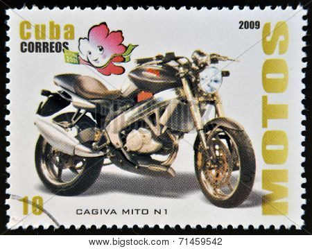 CUBA - CIRCA 2009: A stamp printed in Cuba dedicated to the motorbikes shows Cagiva Mito N 1