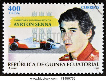 EQUATORIAL GUINEA -CIRCA 1995: stamp printed in Guinea dedicated to car champions shows Ayrton Senna