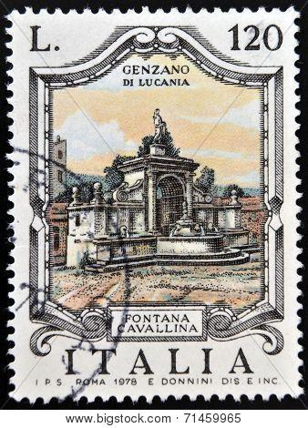 ITALY - CIRCA 1978: a stamp printed in Italy shows Cavallina Fountain Genzano di Lucania circa 1978