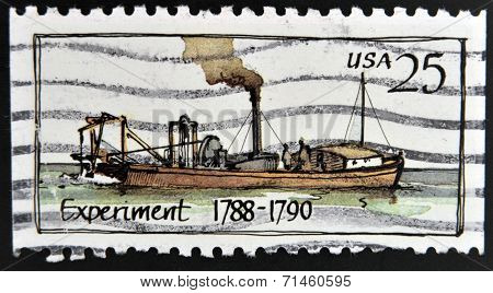 UNITED STATES OF AMERICA - CIRCA 1989: A stamp printed in USA shows Ship Experiment (1788 - 1790)