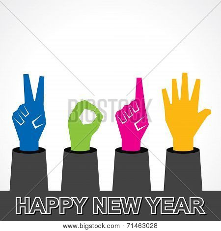 creative happy new year 2015 design with finger