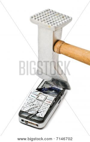Hammer smashing cellular phone isolated on the white background poster