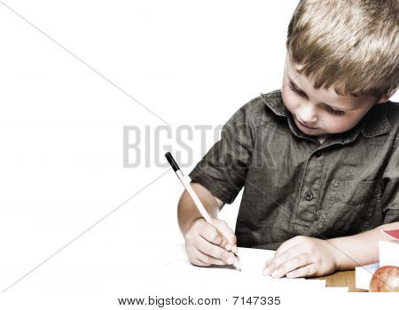 Little Boy Hard At His School Work