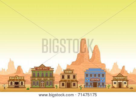 Wild West town seamless background