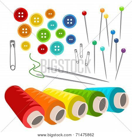 Vector Sewing Accessories Isolated On White