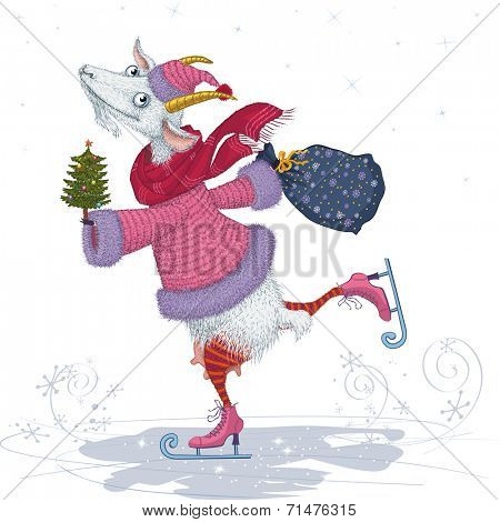 Vector illustration of a funny skater goat dressed in fur coat and cap with christmas tree and bag isolated on white background