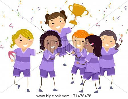 Illustration Featuring a Group of Girls Celebrating Their Championship Win