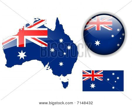 Australia flag, map and glossy button.