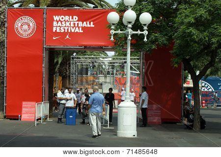 Entrance To World Basketball Festival At Barcelona
